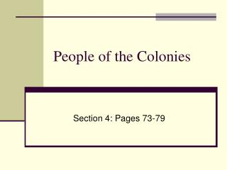 People of the Colonies
