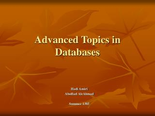 Advanced Topics in Databases