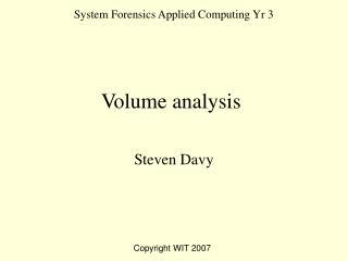 System Forensics Applied Computing Yr 3