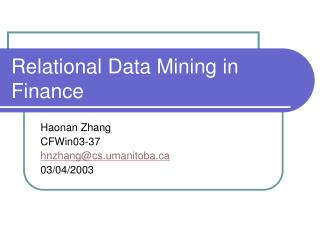 Relational Data Mining in Finance