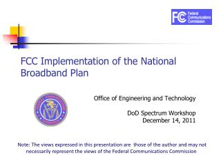 FCC Implementation of the National Broadband Plan