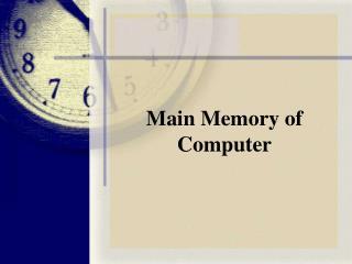 Main Memory of Computer