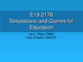 E19.2176  Simulations and Games for Education