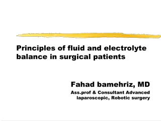 Principles of fluid and electrolyte balance in surgical patients