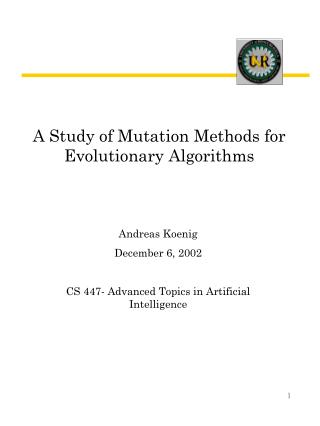 A Study of Mutation Methods for Evolutionary Algorithms