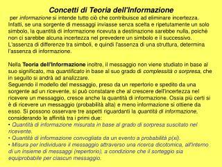 Concetti di Teoria dell'Informazione