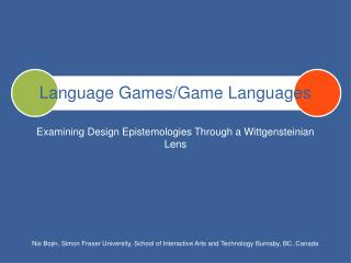 Language Games/Game Languages