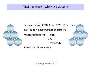 RICH mirrors - what is available