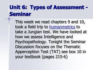 Unit 6:  Types of Assessment - Seminar