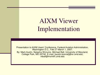 AIXM Viewer Implementation