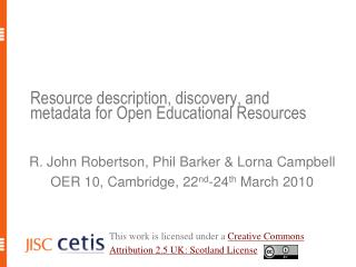 Resource description, discovery, and metadata for Open Educational Resources
