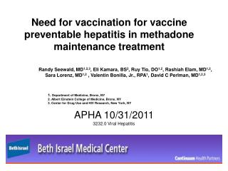 Need for vaccination for vaccine preventable hepatitis in methadone maintenance treatment