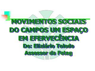 MOVIMENTOS SOCIAIS DO CAMPOS UM ESPAÇO EM EFERVECÊNCIA De: Eliziário Toledo Assessor da Fetag