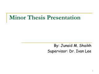 Minor Thesis Presentation
