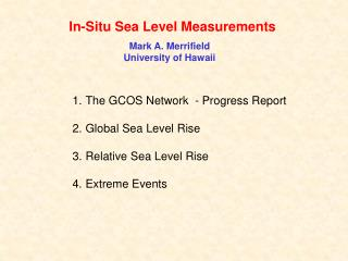 In-Situ Sea Level Measurements