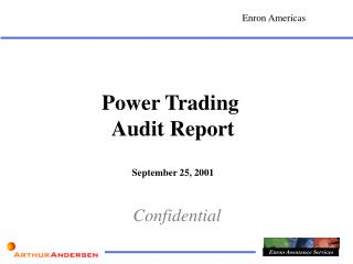 Power Trading  Audit Report September 25, 2001