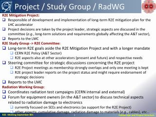 Project / Study Group /  RadWG