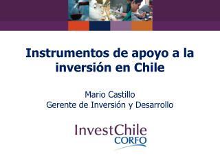 Instrumentos de apoyo a la inversión en Chile Mario Castillo Gerente de Inversión y Desarrollo