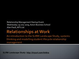 Relationship Management Startup Event Wednesday 29 July 2009, Aston Business School