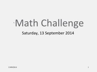 ` Math Challenge