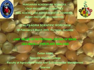 HUNGARIAN ACADEMY OF SCIENCES CROP PRODUCTION COMMITTEE SOIL SCIENCE AND AGROCHEMISTRY COMMITEE