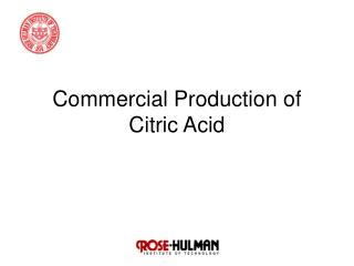 Commercial Production of Citric Acid
