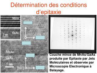Détermination des conditions d'epitaxie