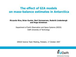 The effect of GIA models  on mass-balance estimates in Antarctica