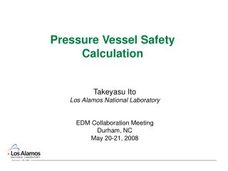 Pressure Vessel Safety Calculation