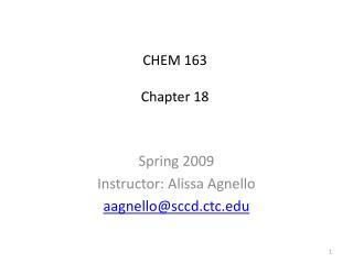 CHEM 163 Chapter 18