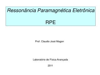 Ressonância Paramagnética Eletrônica RPE