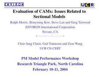 Evaluation of CAMx: Issues Related to Sectional Models
