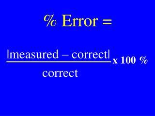 % Error =