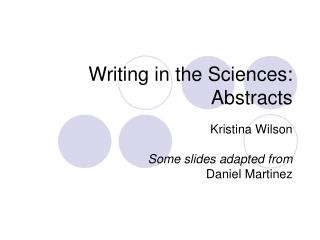 Writing in the Sciences: Abstracts