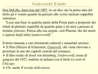 Underworld : Il titolo