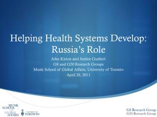 Helping Health Systems Develop: Russia's Role