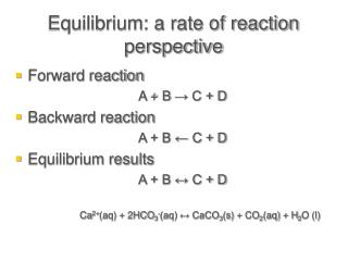 Equilibrium: a rate of reaction perspective