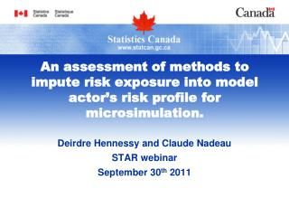 Deirdre Hennessy and Claude Nadeau STAR webinar  September 30 th  2011