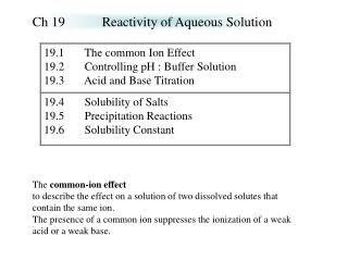Ch 19		Reactivity of Aqueous Solution