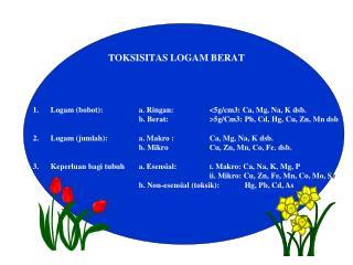 TOKSISITAS LOGAM BERAT