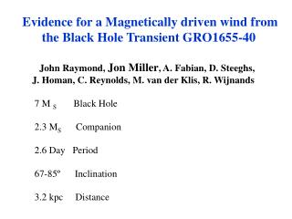 Evidence for a Magnetically driven wind from       the Black Hole Transient GRO1655-40
