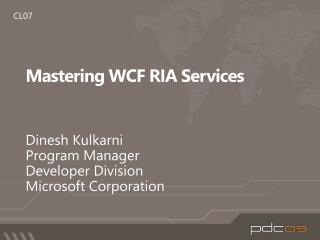 Mastering WCF RIA Services