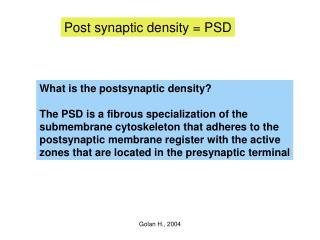 Post synaptic density = PSD