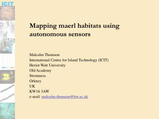 Mapping maerl habitats using autonomous sensors