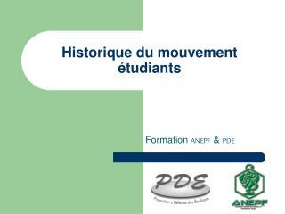 Historique du mouvement étudiants