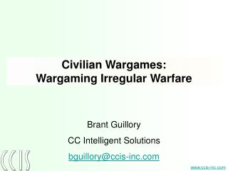 Civilian Wargames: Wargaming Irregular Warfare