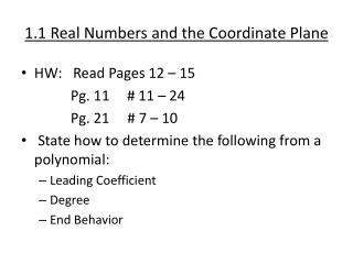 1.1 Real Numbers and the Coordinate Plane