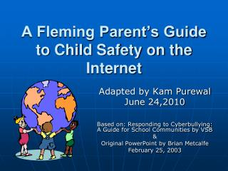 A Fleming Parent's Guide to Child Safety on the Internet