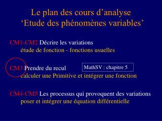 Le plan des cours d'analyse  ' Etude des phénomènes variables'