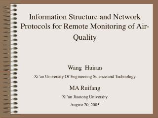 Information Structure and Network Protocols for Remote Monitoring of Air-Quality